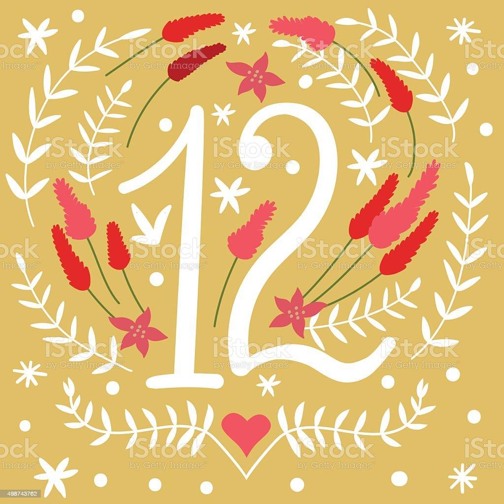 Cute Colorful Christmas Advent Calendar. vector art illustration