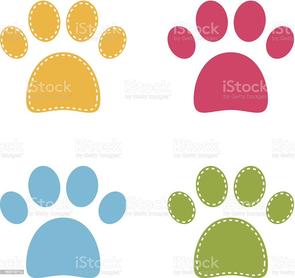 Cute colorful Doggie Paws isolated on white vector art illustration