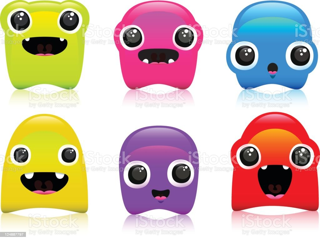 Cute Colorful Expression Blob Characters royalty-free stock vector art