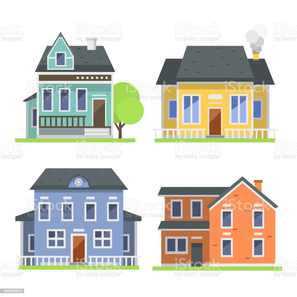 G+0 Home Design Part - 42: Cute Colorful Flat Style House Village Symbol Real Estate Cottage And Home  Design Residential Colorful Building
