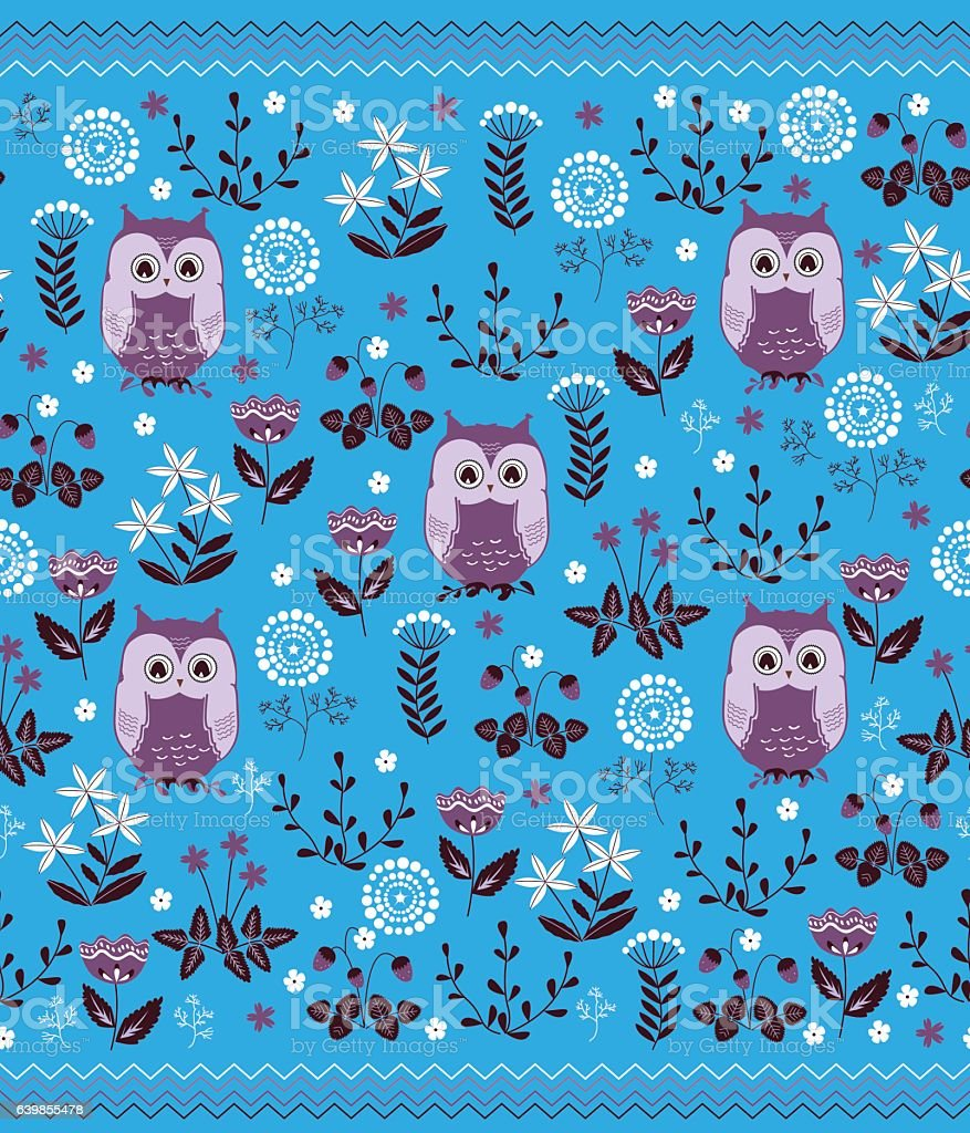 cute colorful floral seamless pattern with owls kids blanket