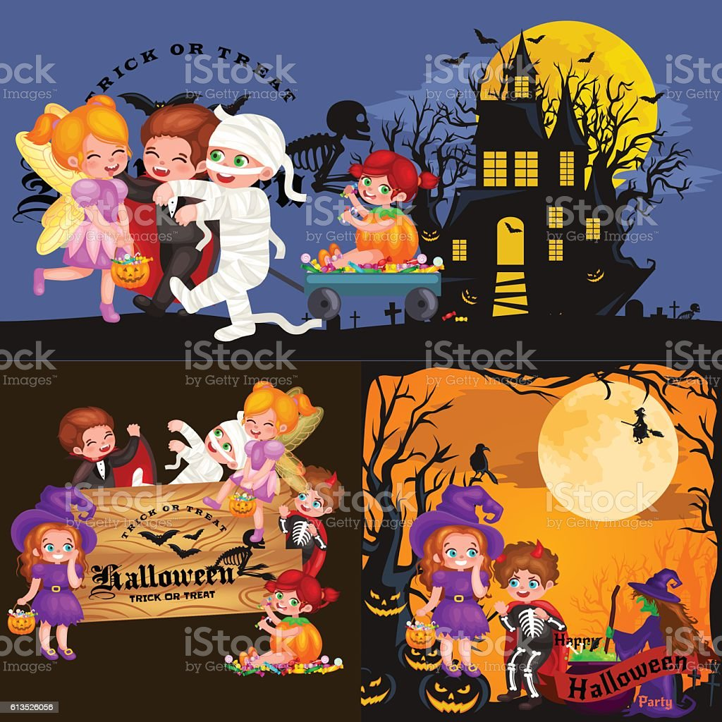 Cute colorful Halloween kids in costume for party set isolated vector art illustration