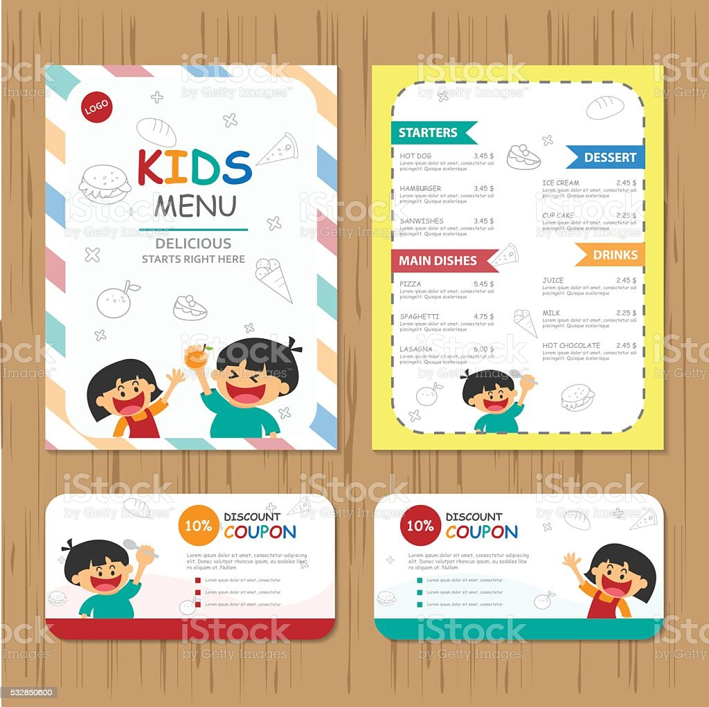 Cute colorful kids meal menu coupon vector template set vector art illustration
