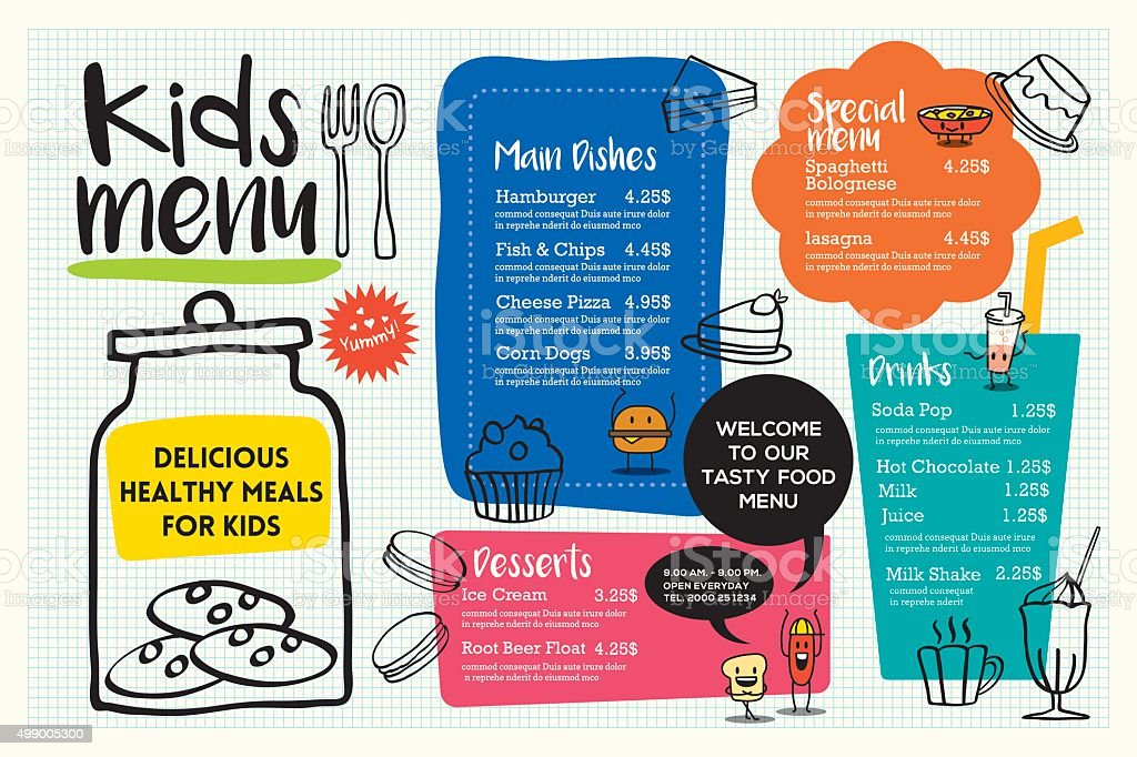 Cute colorful kids meal menu template vector art illustration