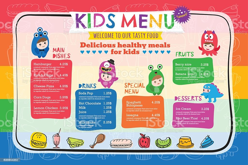 Cute colorful kids meal menu template vector art illustration