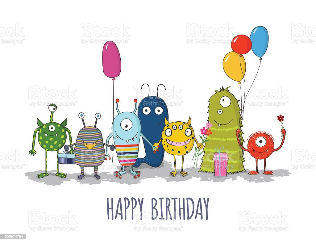 Cute colorful monsters happy birthday card. eps10 vector art illustration