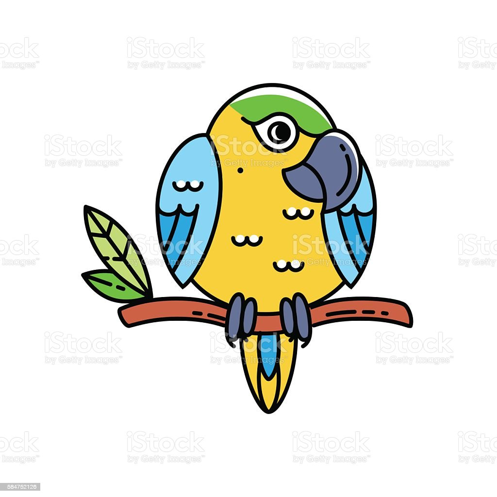 Cute colorful parrot isolated on white vector art illustration