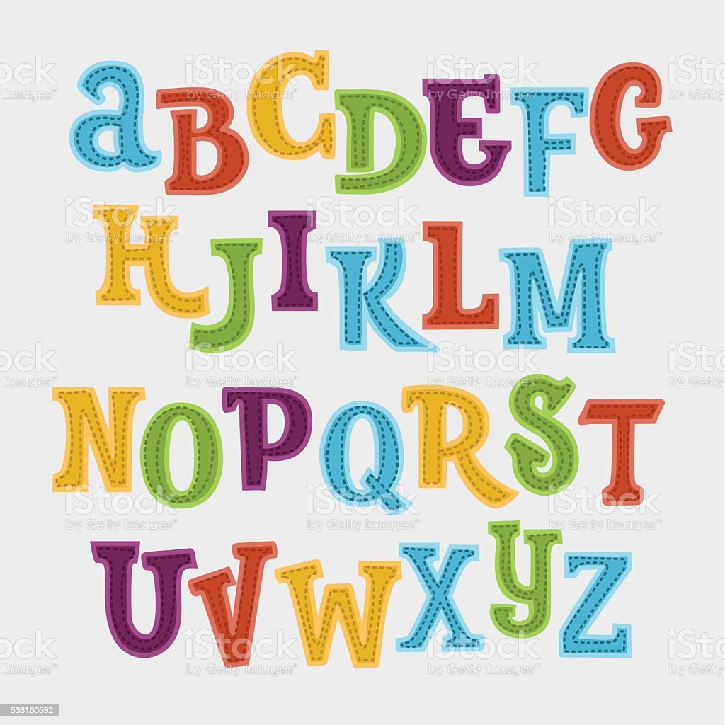 Cute colorful vector English alphabet vector art illustration