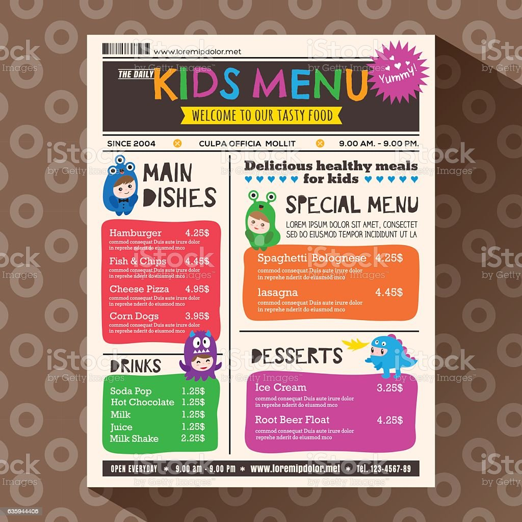Cute colorful vibrant kids menu template in newspaper style vector art illustration