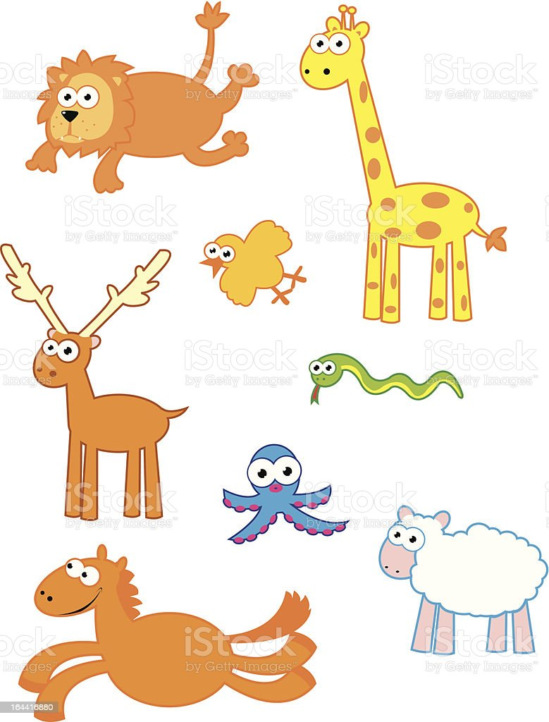 Cute Colourful Animals royalty-free stock vector art