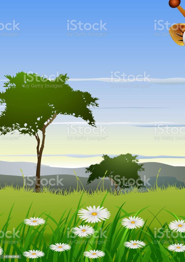 cute couple giraffe cartoon with landscape background royalty-free stock vector art