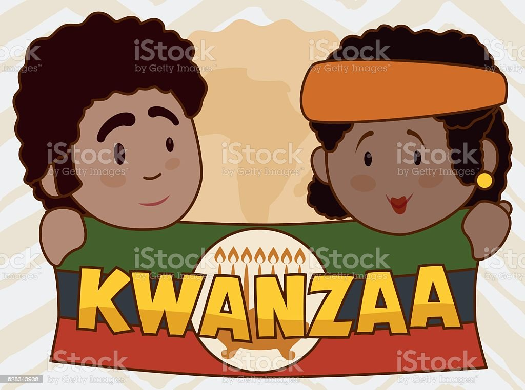 Cute Couple Holding Kwanzaa Flag with Candlelight vector art illustration
