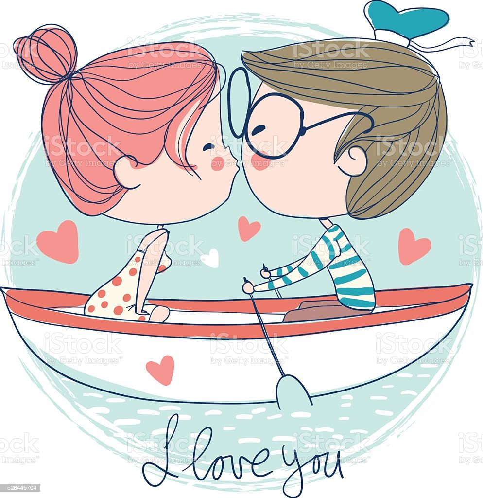 Cute couple kissing sitting on pier royalty-free stock vector art
