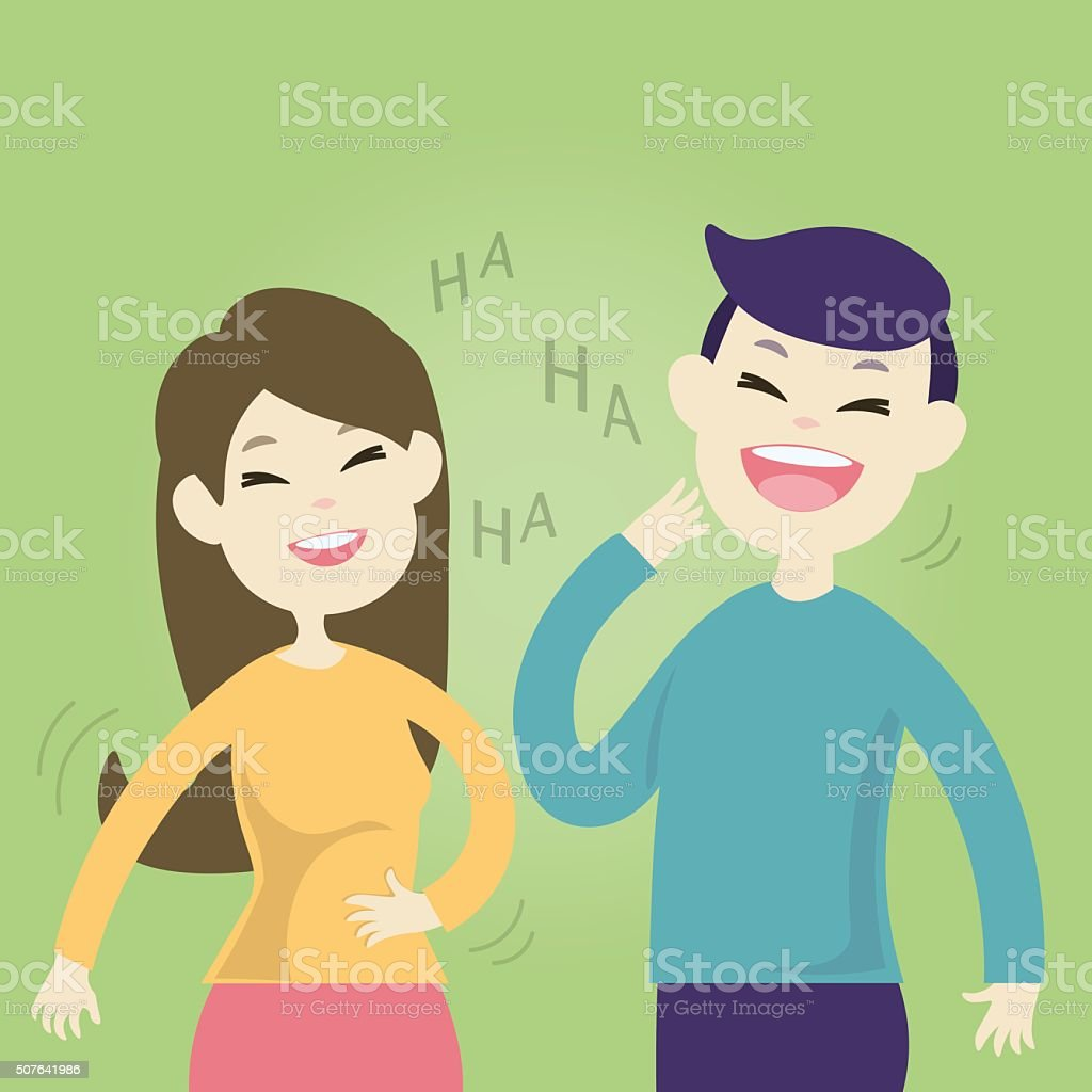 Cute couple laughing together vector art illustration