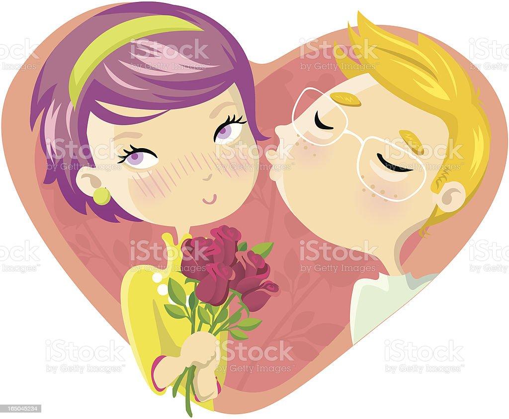 cute couple vector art illustration