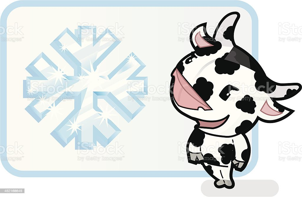 cute cow with icecrystallsign (frozen dairy products). royalty-free stock vector art