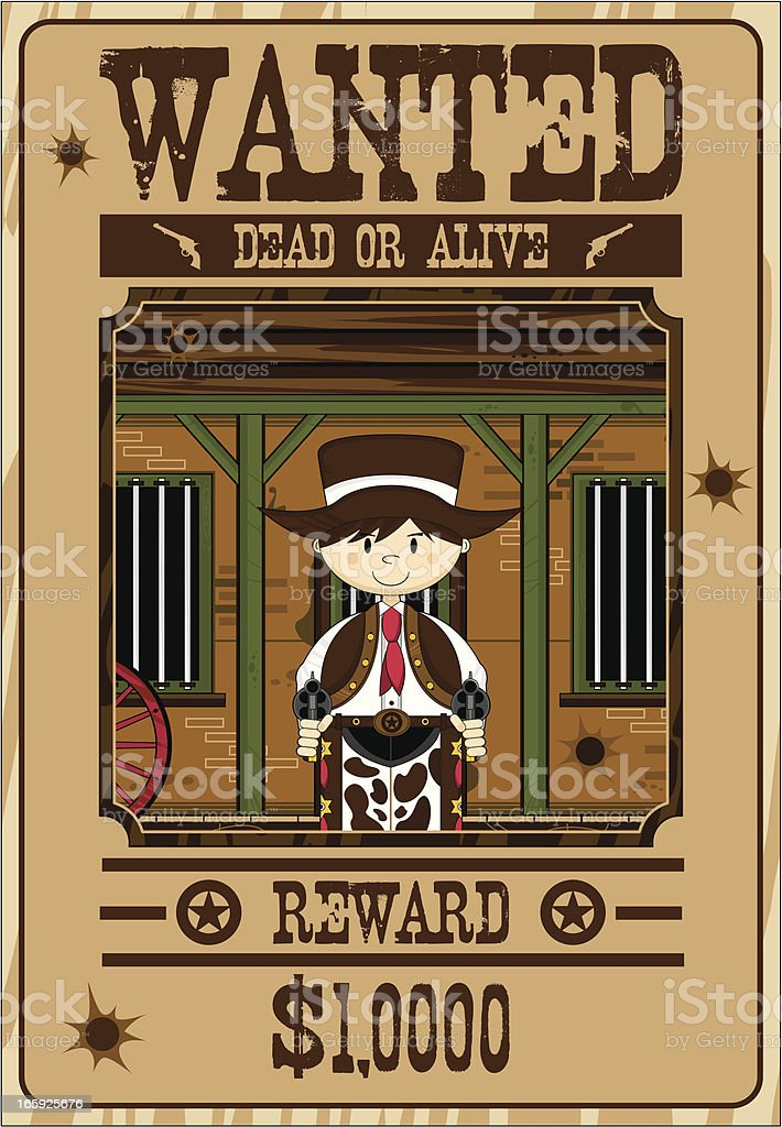 Cute Cowboy Gunslinger Wanted Poster royalty-free stock vector art