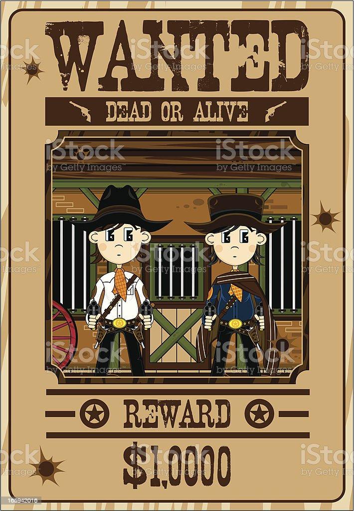 Cute Cowboy Gunslingers Wanted Poster vector art illustration