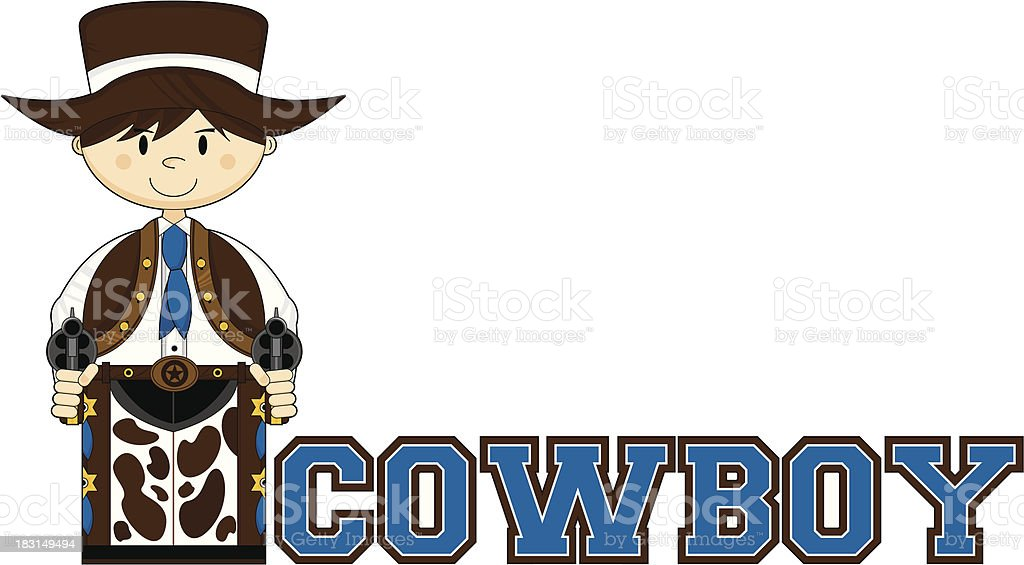 Cute Cowboy Learn to Read Illustration royalty-free stock vector art