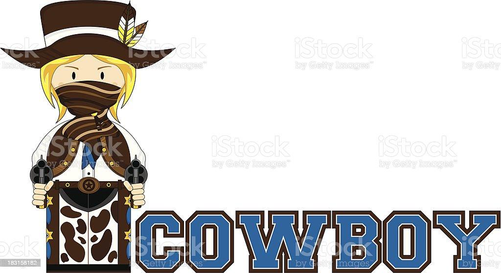 Cute Cowboy Learn to Read Illustration vector art illustration