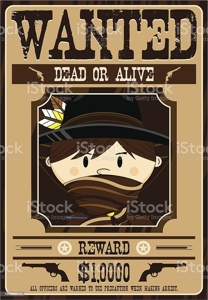 Cute Cowboy Outlaw Wanted Poster vector art illustration