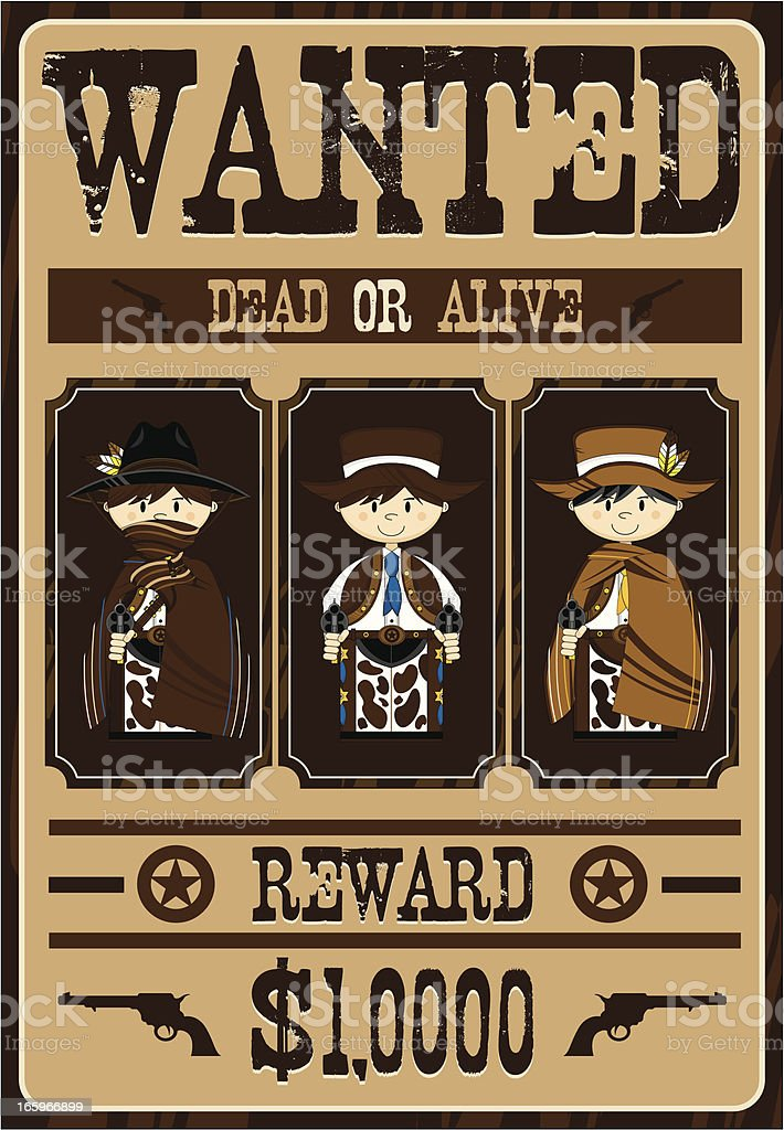 Cute Cowboy Outlaws Wanted Poster royalty-free stock vector art