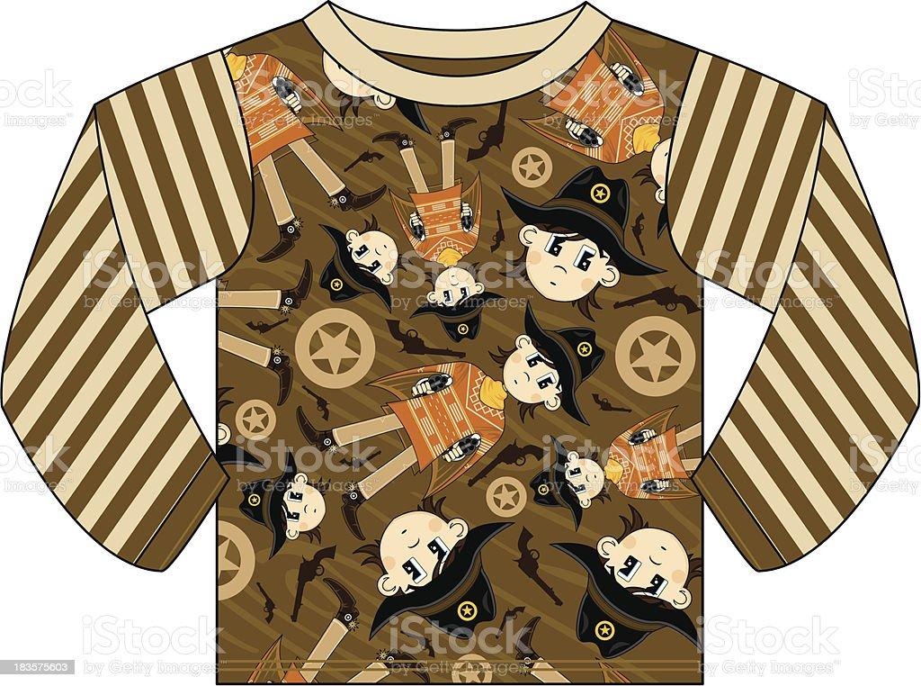 Cute Cowboy Patterned Kids T-Shirt royalty-free stock vector art