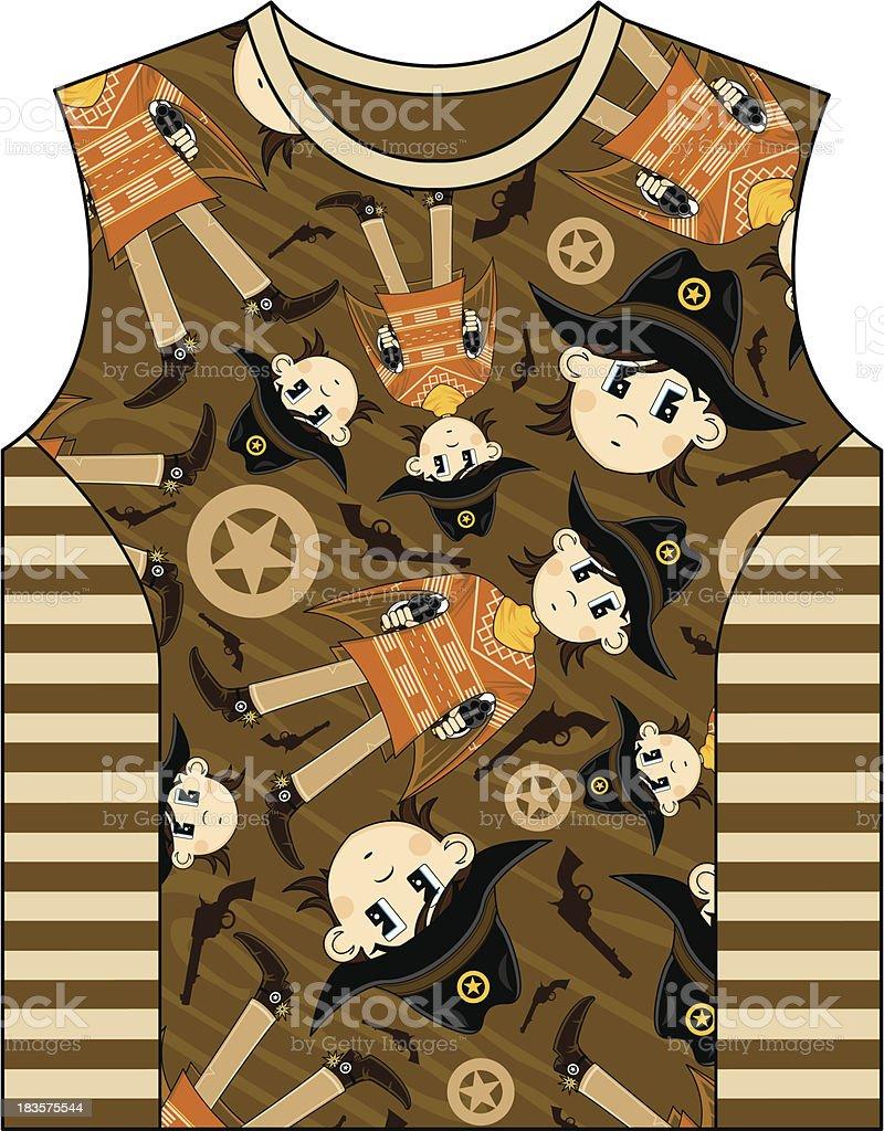 Cute Cowboy Patterned Kids Vest royalty-free stock vector art