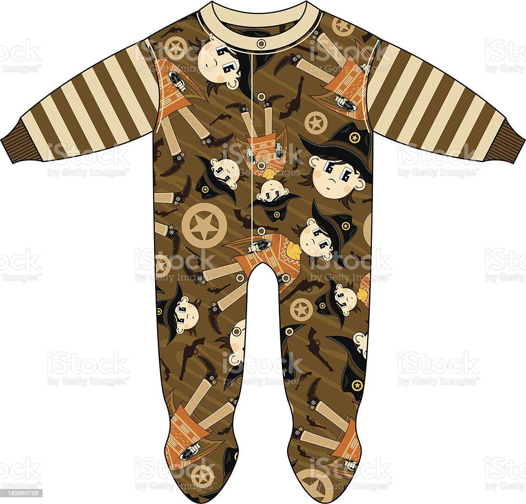 Cute Cowboy Patterned Sleepsuit royalty-free stock vector art