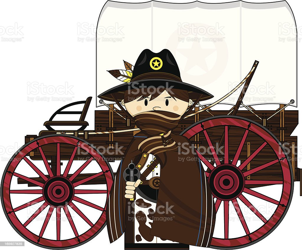 Cute Cowboy Sheriff and Chuck Wagon royalty-free stock vector art