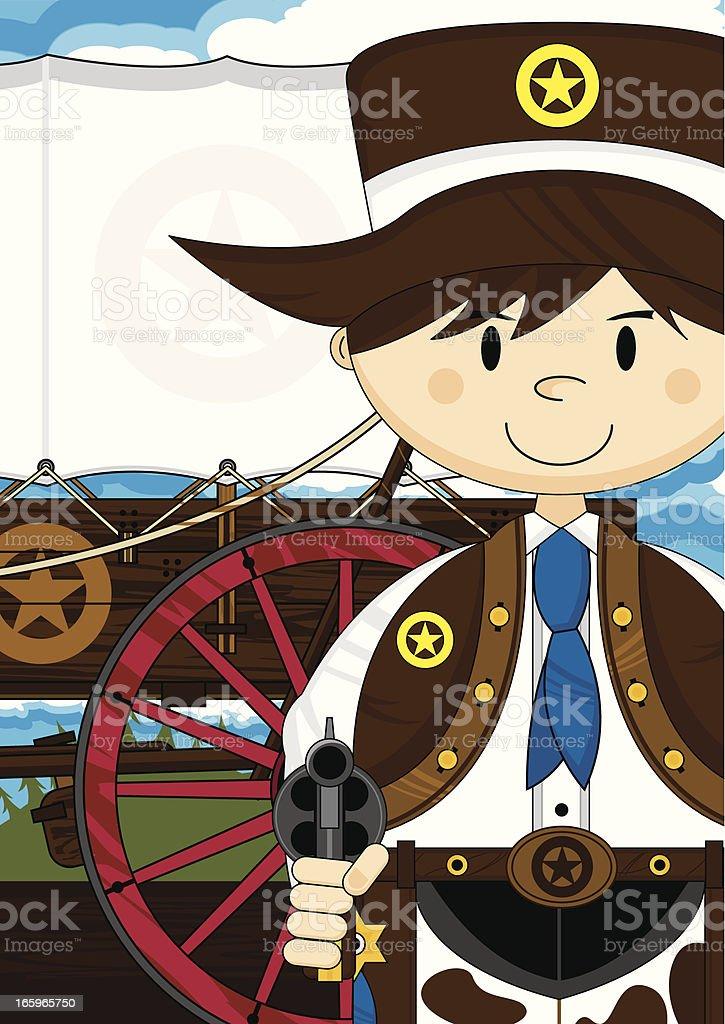 Cute Cowboy Sheriff & Chuck Wagon vector art illustration