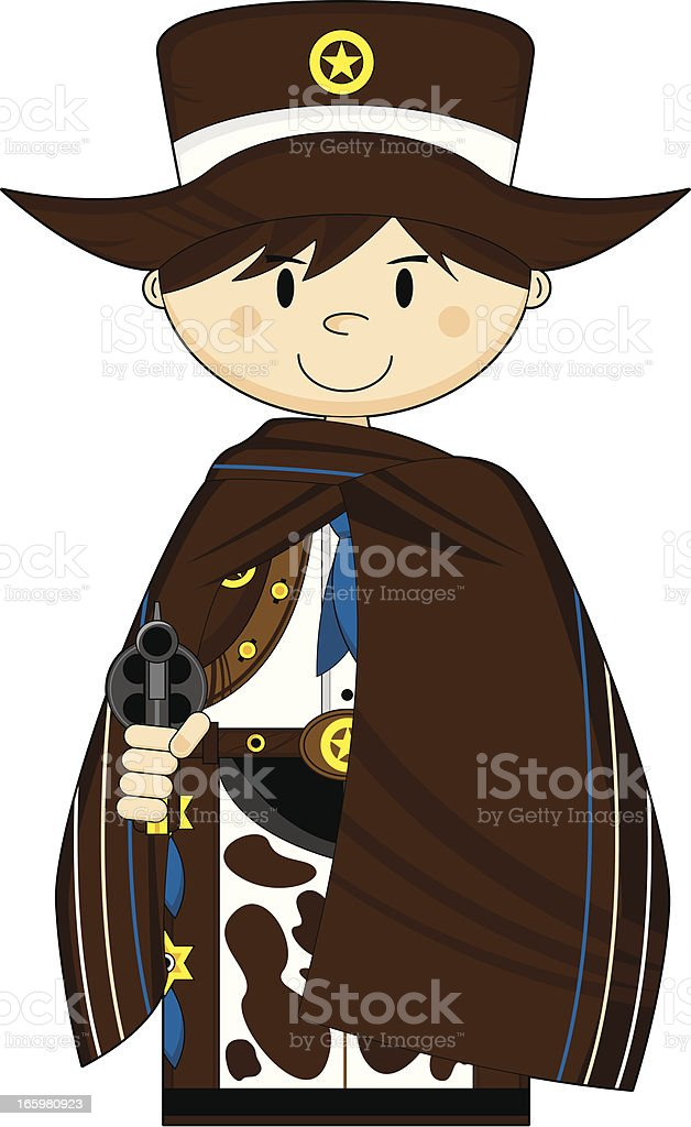 Cute Cowboy Sheriff in Poncho royalty-free stock vector art