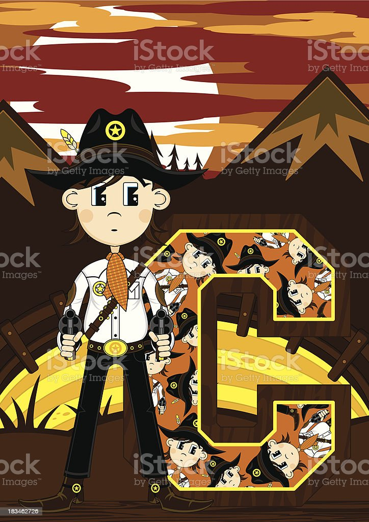 Cute Cowboy Sheriff Learning Letter C royalty-free stock vector art