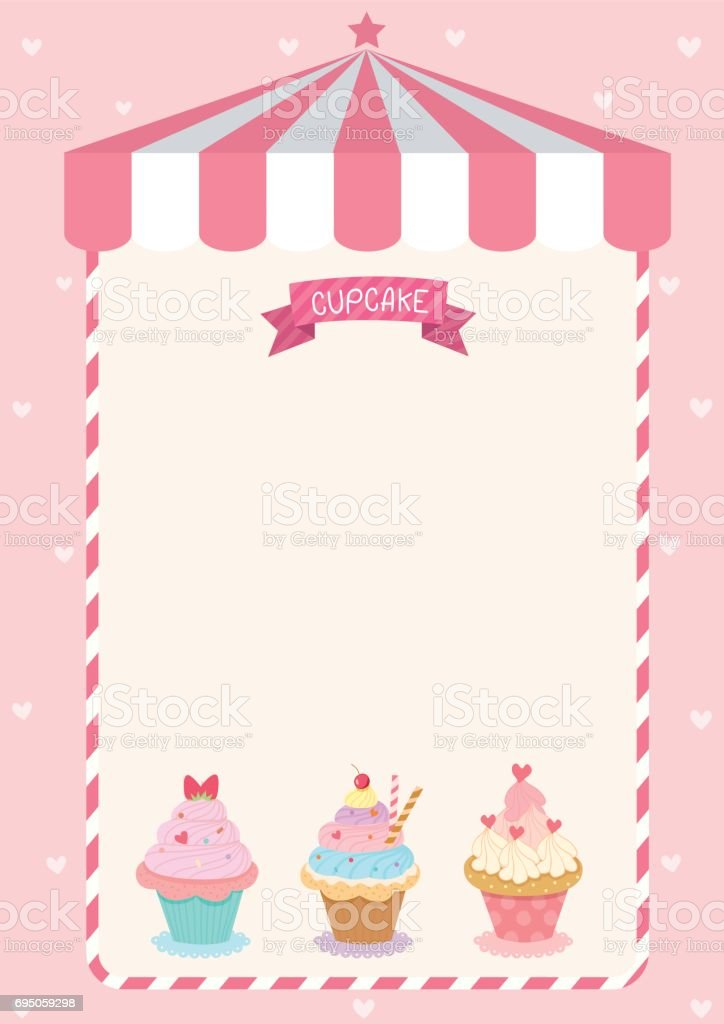 Cute Cupcake Menu Template On Pink Cafe Background Stock Vector