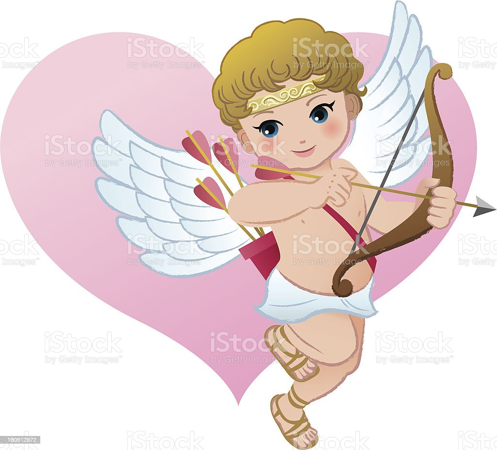 Cute Cupid with heart shape royalty-free stock vector art