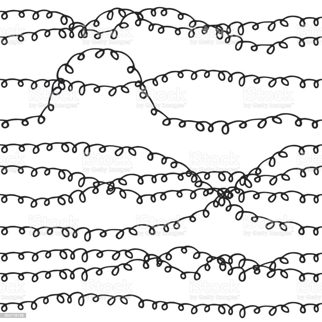 Cute curly Hand drawn seamless pattern. vector art illustration