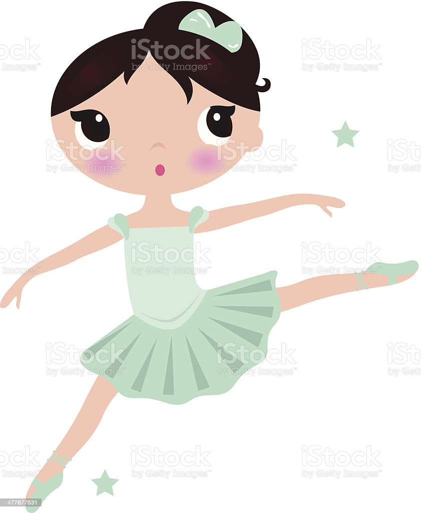 Cute cyan Ballerina girl isolated on white royalty-free stock vector art