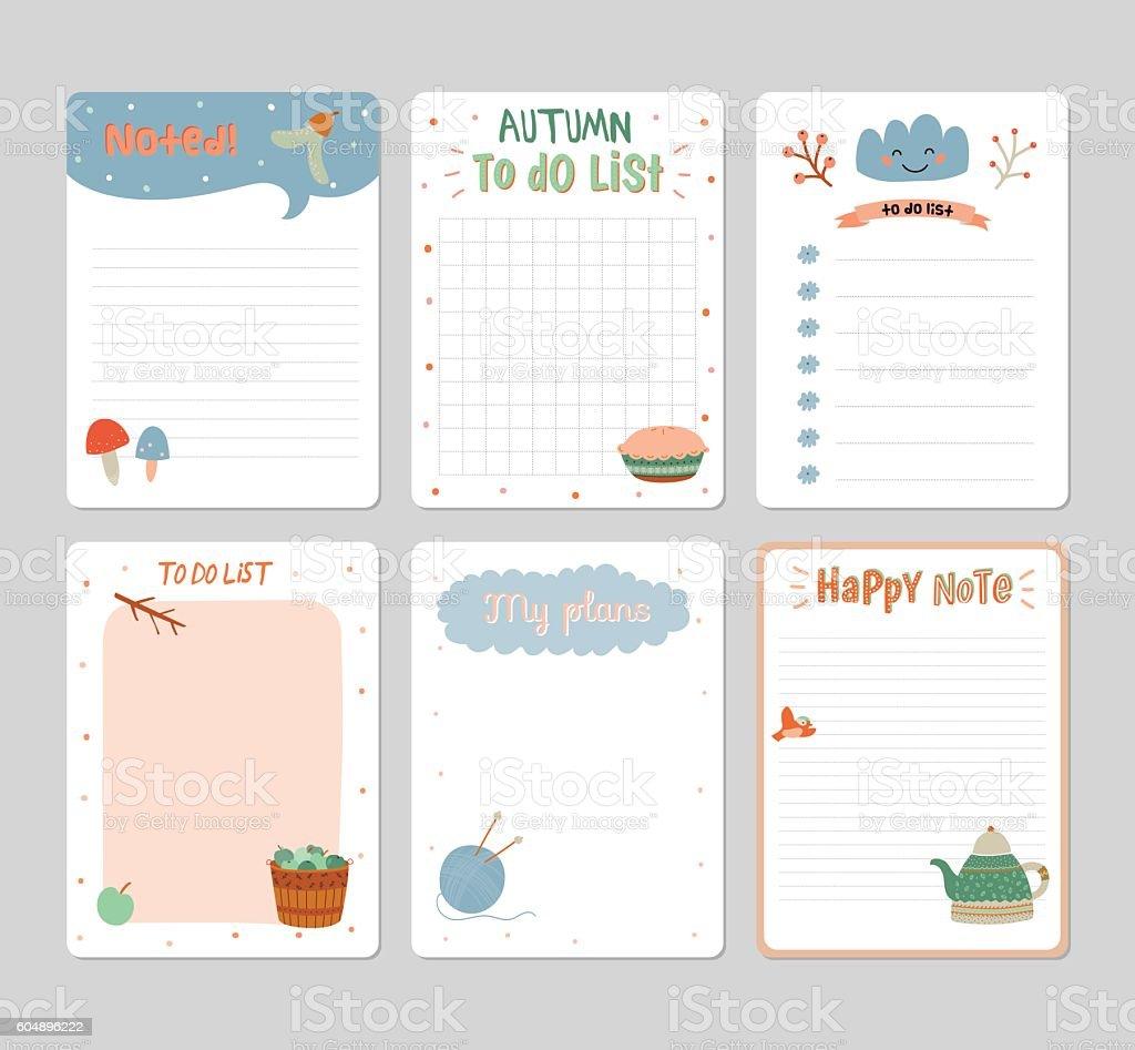 Cute Daily Calendar And To Do List Template stock vector