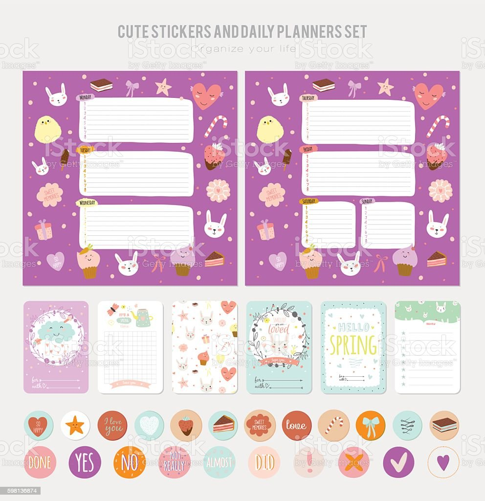 Cute Daily Note Template stock vector art 598136874 – Daily Note Template