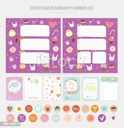 Cute Daily Note Template Stock Vector Art 598136874 | Istock