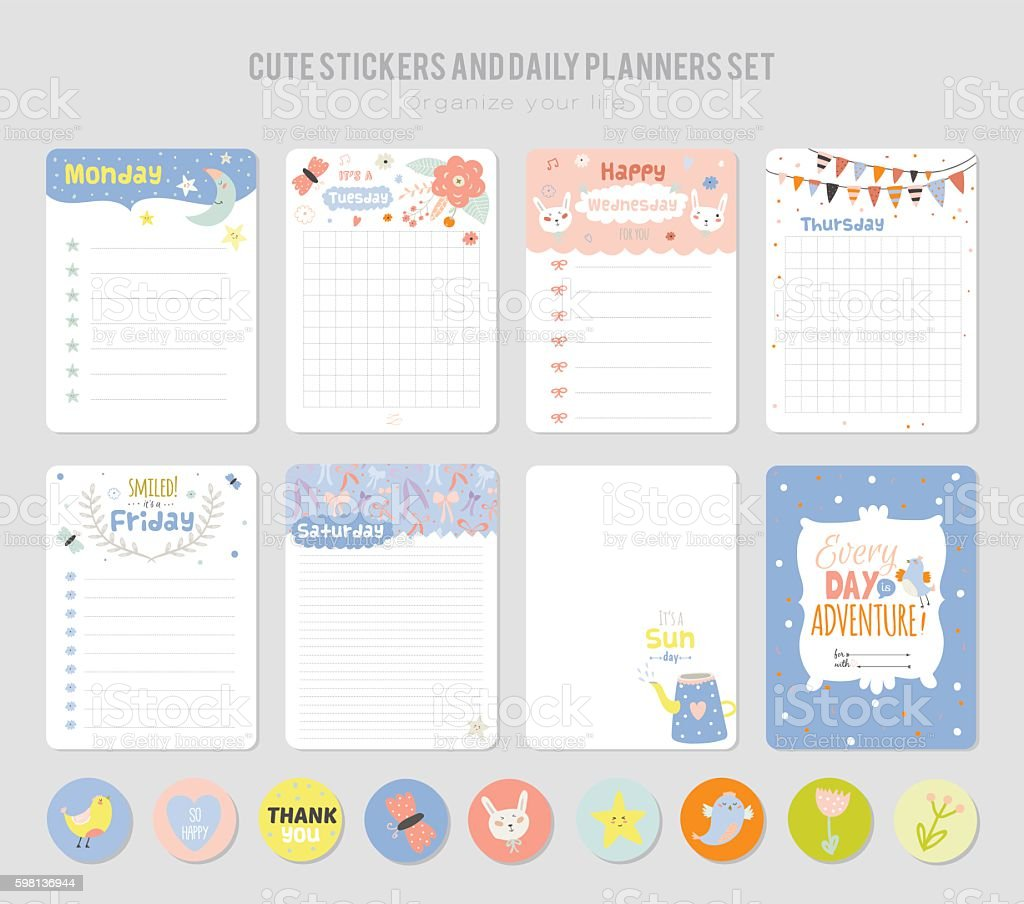 Cute Daily Note Template Vetor e Ilustra o RoyaltyFree 598136944 – Daily Note Template