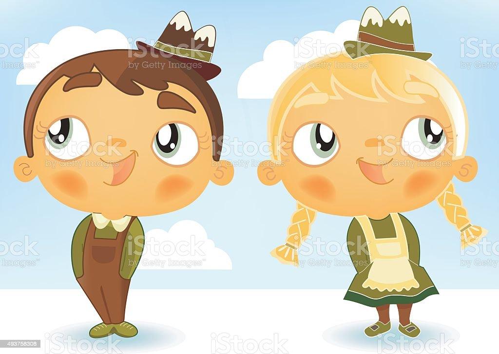 cute dancing kids vector art illustration