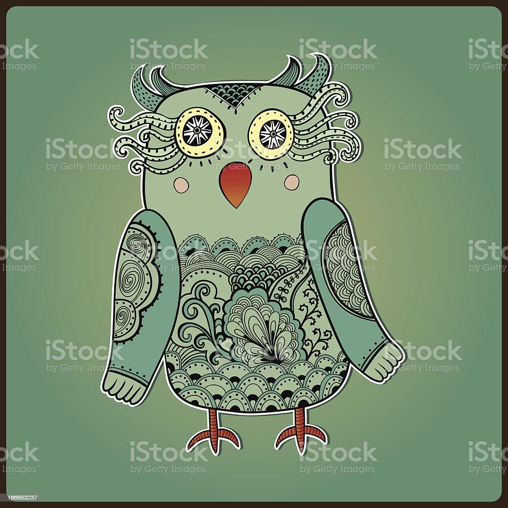 Cute Decorative Owl, vector illustration. Lacy bird. vector art illustration
