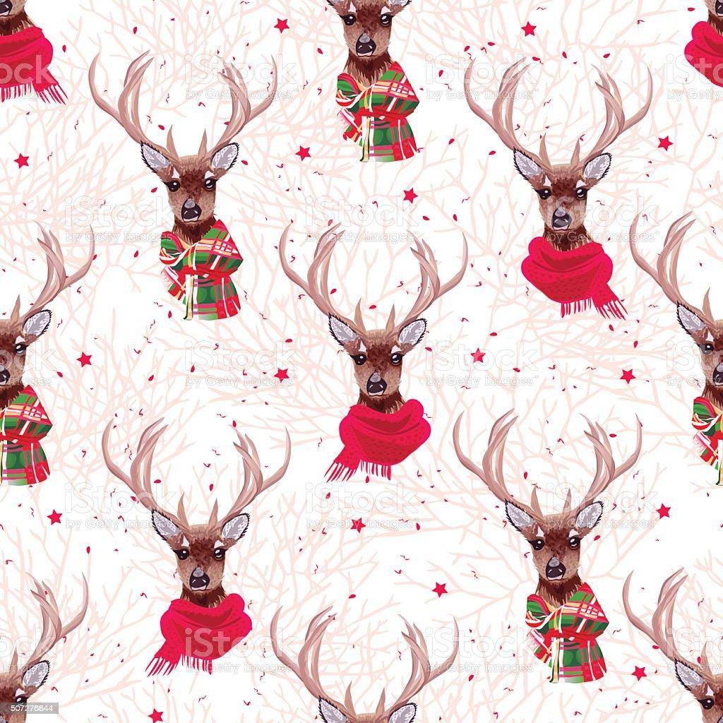 Cute deer wearing stylish winter scarves seamless vector print vector art illustration