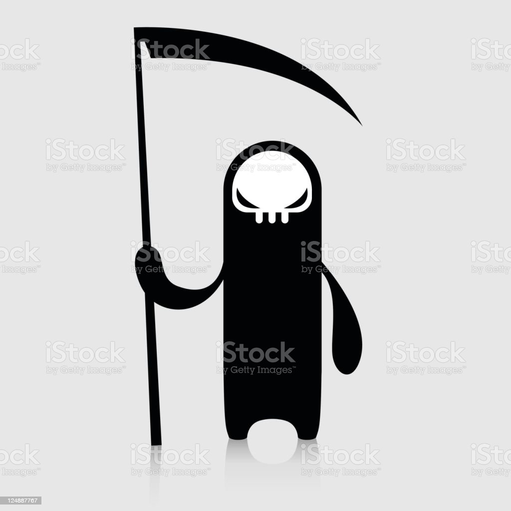Cute Demon Character With Reaper royalty-free stock vector art