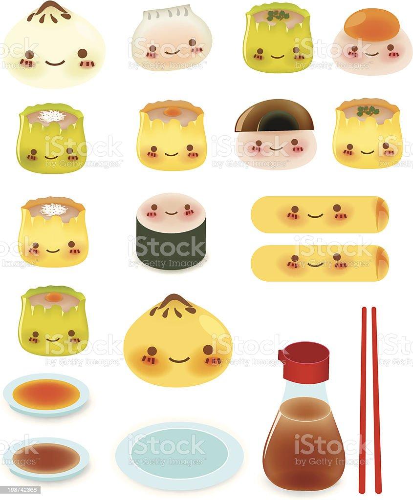 Cute DimSum Collection vector art illustration