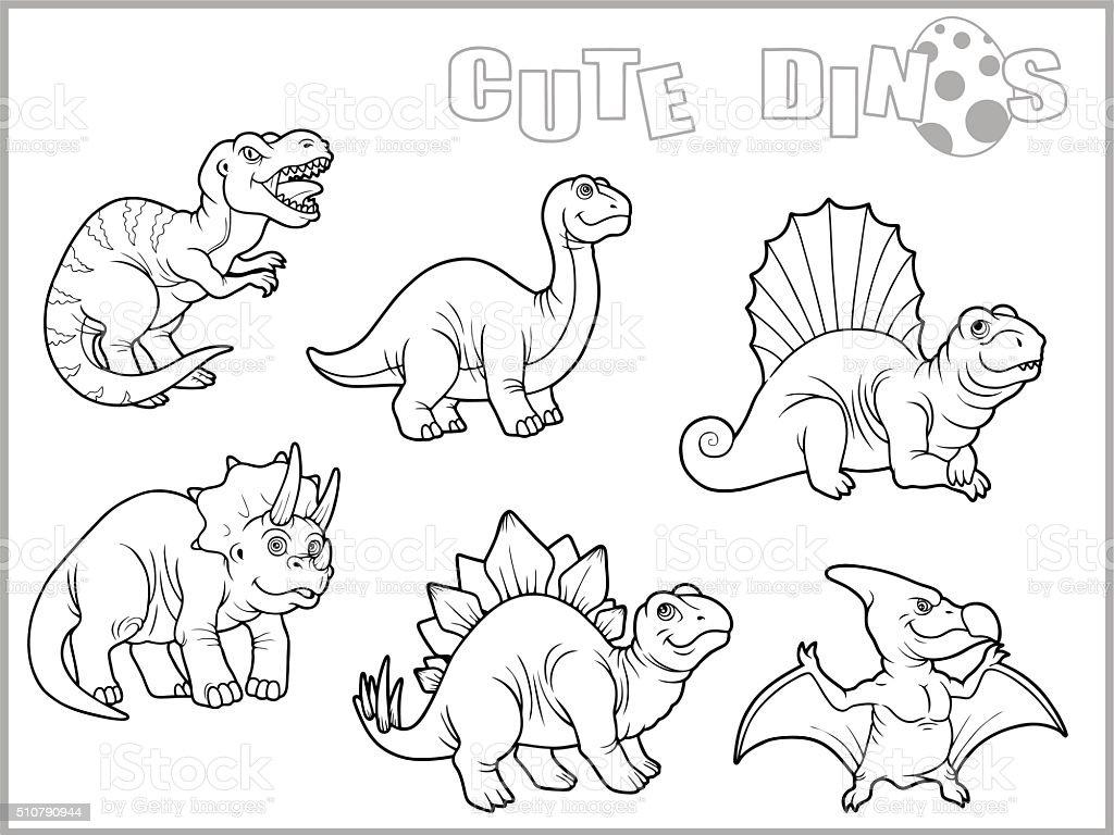 cute dinos vector art illustration