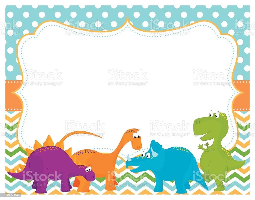 Cute Dinosaur Card vector art illustration