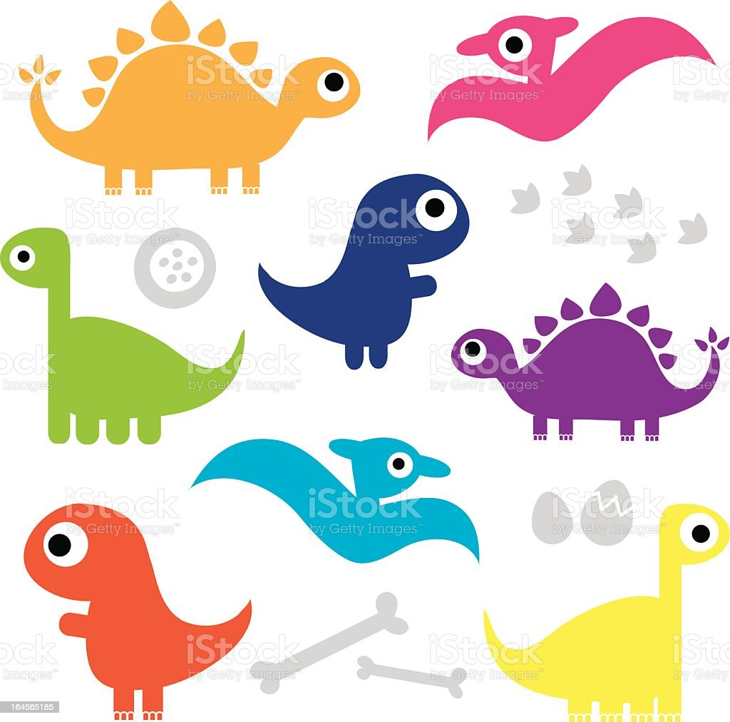 Cute Dinosaur Characters vector art illustration