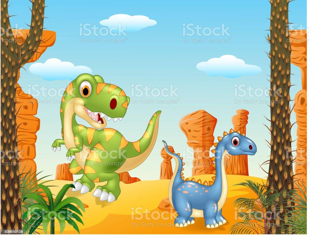 Cute dinosaur posing in the desert background vector art illustration
